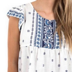 Sweat Wanderer white top with blue floral print S